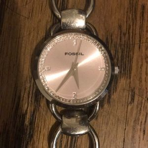 Pink and silver fossil watch